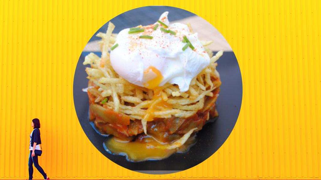 patatas pajas con huevos